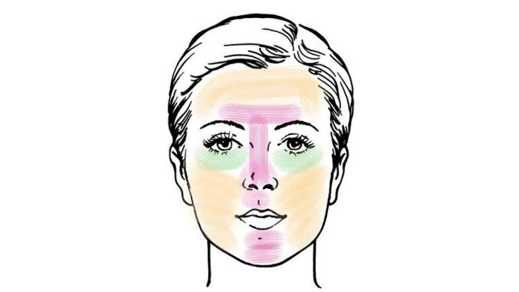 Зоны на лице для нанесения масок